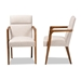Baxton Studio Andrea Mid-Century Modern Beige Fabric Upholstered and Walnut Brown Finished Wood Armchair - BBT5267-Beige-Chair