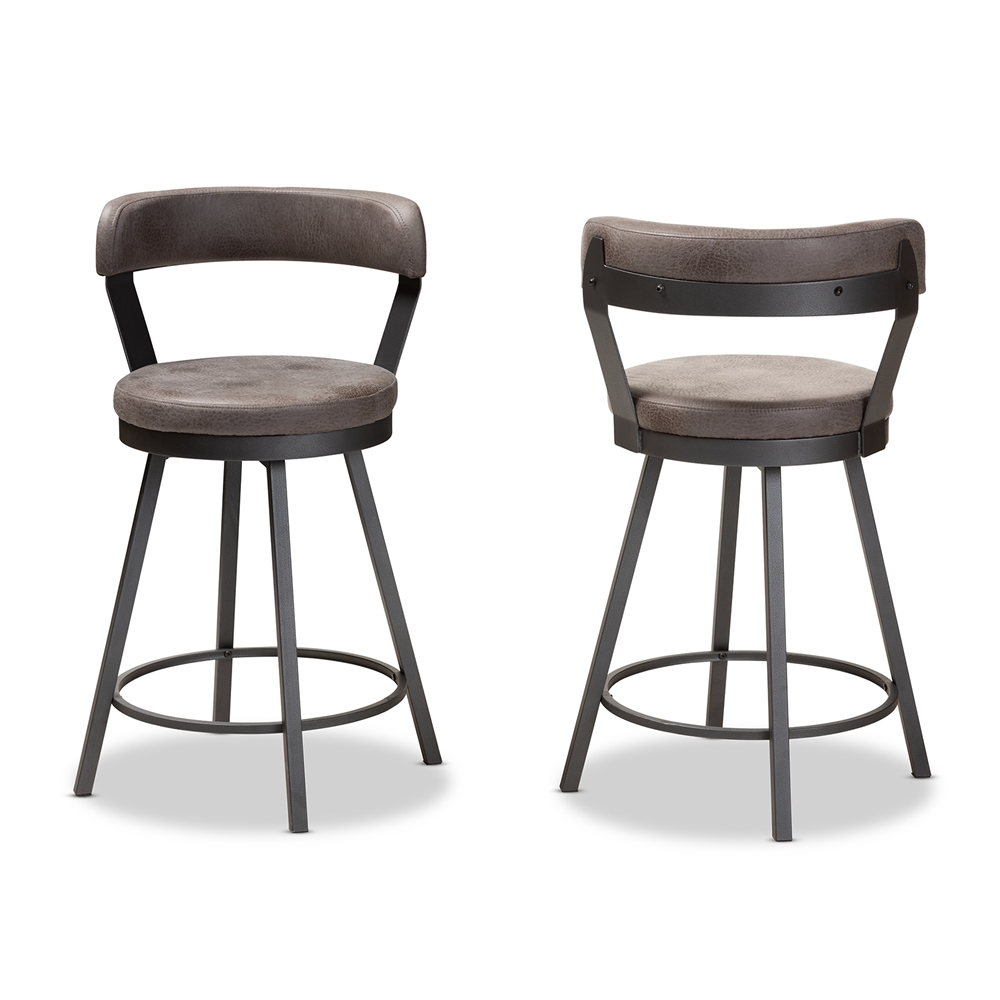 Baxton Studio Arcene Rustic and Industrial Grey Faux Leather Upholstered Pub Stool Set of 2