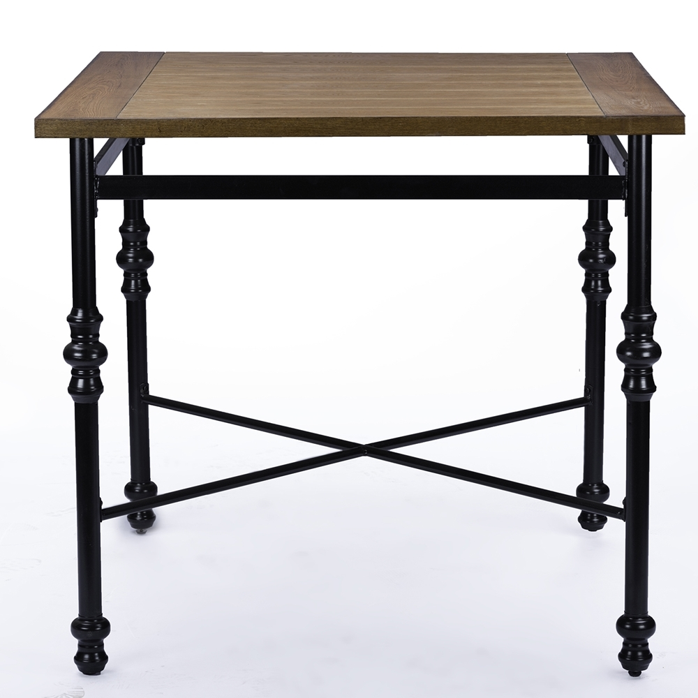 Baxton Studio Broxburn Light Brown Wood & Metal Pub Table
