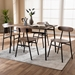 Baxton Studio Darcia Rustic and Industrial Brown Wood Finished Matte Black Frame 5-Piece Dining Set - D01222-Rustic-5PC-Dining Set