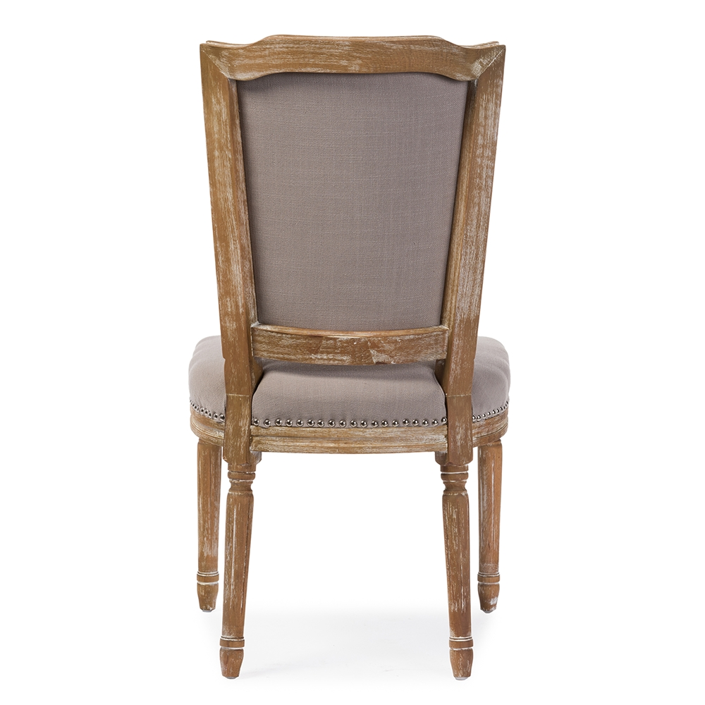 Baxton Studio Estelle Chic Rustic French Country Cottage Weathered Oak Beige Fabric On Tufted Upholstered
