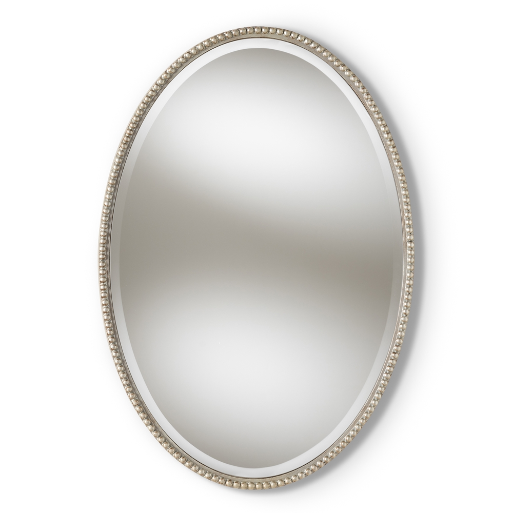 Baxton Studio Graca Modern and Contemporary Antique Silver Finished Oval Accent Wall Mirror