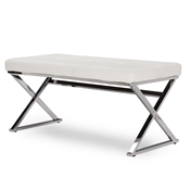 Baxton Studio Herald Modern and Contemporary Stainless Steel and White Faux Leather Upholstered Rectangle Bench Baxton Studio Herald Modern and Contemporary Stainless Steel and White Faux Leather Upholstered Rectangle Bench, wholesale furniture, restaurant furniture, hotel furniture, commercial furniture