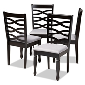 Baxton Studio Lanier Modern and Contemporary Gray Fabric Upholstered Espresso Brown Finished Wood Dining Chair Set of 4 Baxton Studio restaurant furniture, hotel furniture, commercial furniture, wholesale dining room furniture, wholesale dining chairs, classic dining chairs