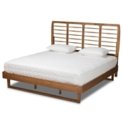 Baxton Studio Lucie Modern and Contemporary Walnut Brown Finished Wood King Size Platform Bed Baxton Studio restaurant furniture, hotel furniture, commercial furniture, wholesale bedroom furniture, wholesale king, classic king