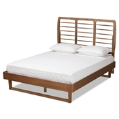 Baxton Studio Lucie Modern and Contemporary Walnut Brown Finished Wood Queen Size Platform Bed Baxton Studio restaurant furniture, hotel furniture, commercial furniture, wholesale bedroom furniture, wholesale queen, classic queen