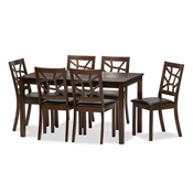 Baxton Studio Mozaika Wood and Leather Contemporary 7-Piece Dining Set1 table and 6 chairs Contemporary Dining, Black, Leather, Set, Discount, Chair