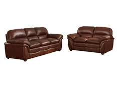 Baxton Studio Redding Cognac Brown Leather Modern Sofa Set