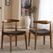 Baxton Studio Sonore Solid Wood Mid-Century Style Accent Chair Dining Chair Set of 2