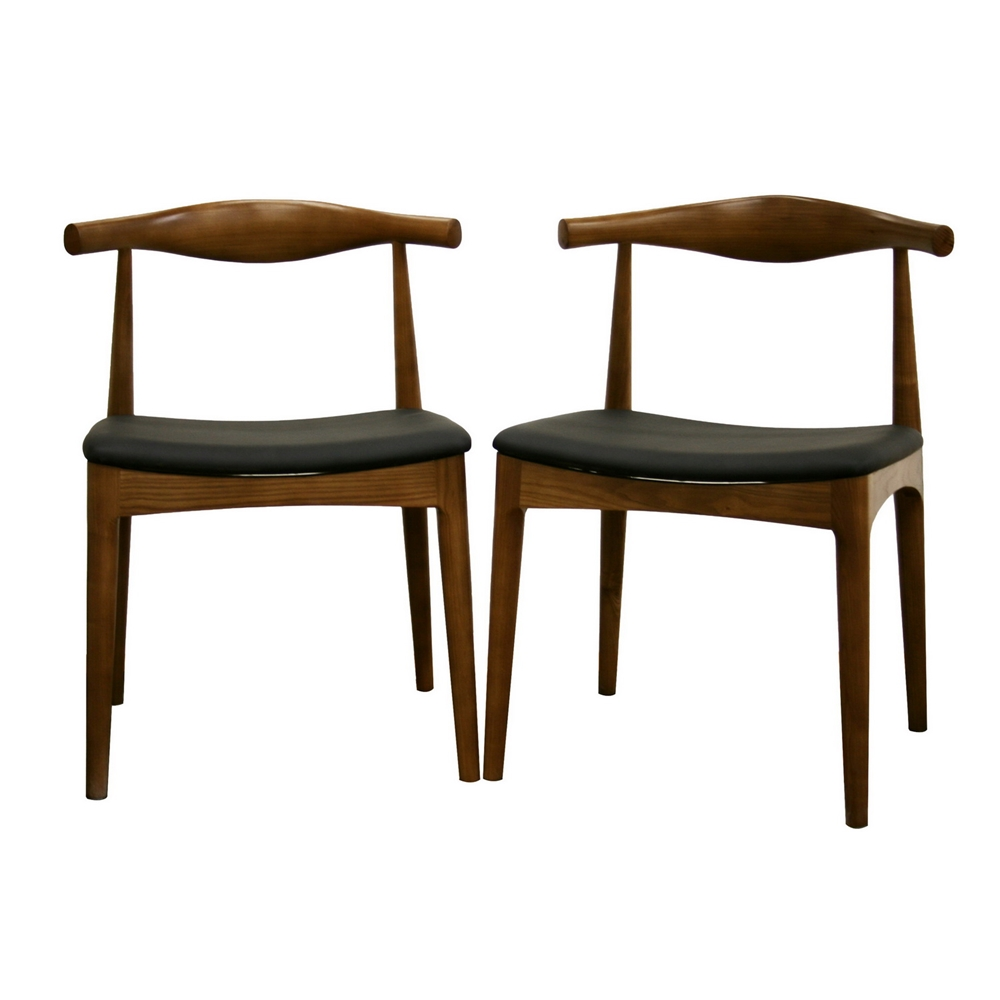 Baxton Studio Sonore Solid Wood Mid Century Style Accent Chair Dining Set Of 2