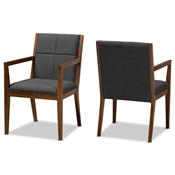Baxton Studio Theresa Mid-Century Modern Dark Grey Fabric Upholstered and Walnut Brown Finished Wood Living Room Accent Chair (Set of 2) Baxton Studio restaurant furniture, hotel furniture, commercial furniture, wholesale living room furniture, wholesale accent chairs, classic accent chairs