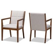 Baxton Studio Theresa Mid-Century Modern Greyish Beige Fabric Upholstered and Walnut Brown Finished Wood Living Room Accent Chair (Set of 2) Baxton Studio restaurant furniture, hotel furniture, commercial furniture, wholesale living room furniture, wholesale accent chairs, classic accent chairs