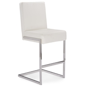 Baxton Studio Toulan Modern and Contemporary White Faux Leather Upholstered Stainless Steel Counter Stool (Set of 2) Baxton Studio Toulan Modern and Contemporary White  Faux Leather Upholstered Stainless Steel Barstool (Set of 2), wholesale furniture, restaurant furniture, hotel furniture, commercial furniture