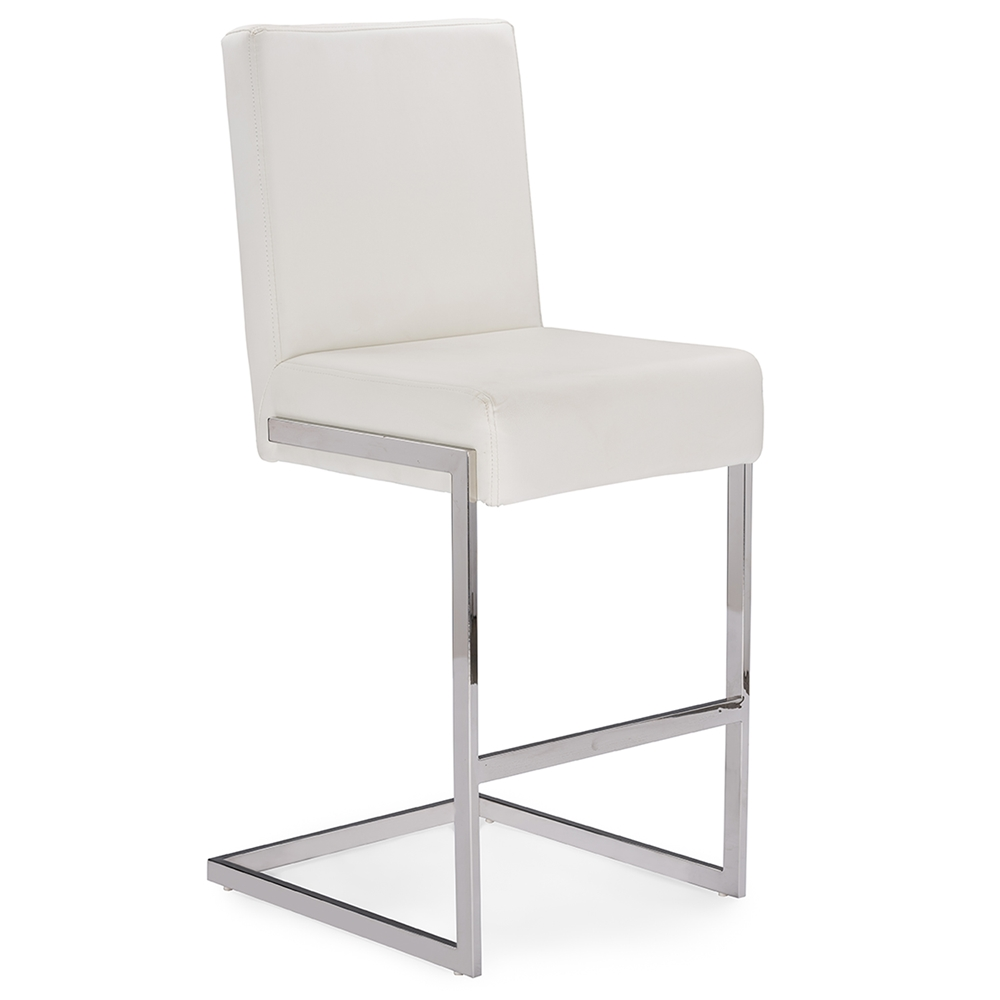 Baxton Studio Toulan Modern and Contemporary White Faux Leather Upholstered Stainless Steel Counter Stool (Set of 2)