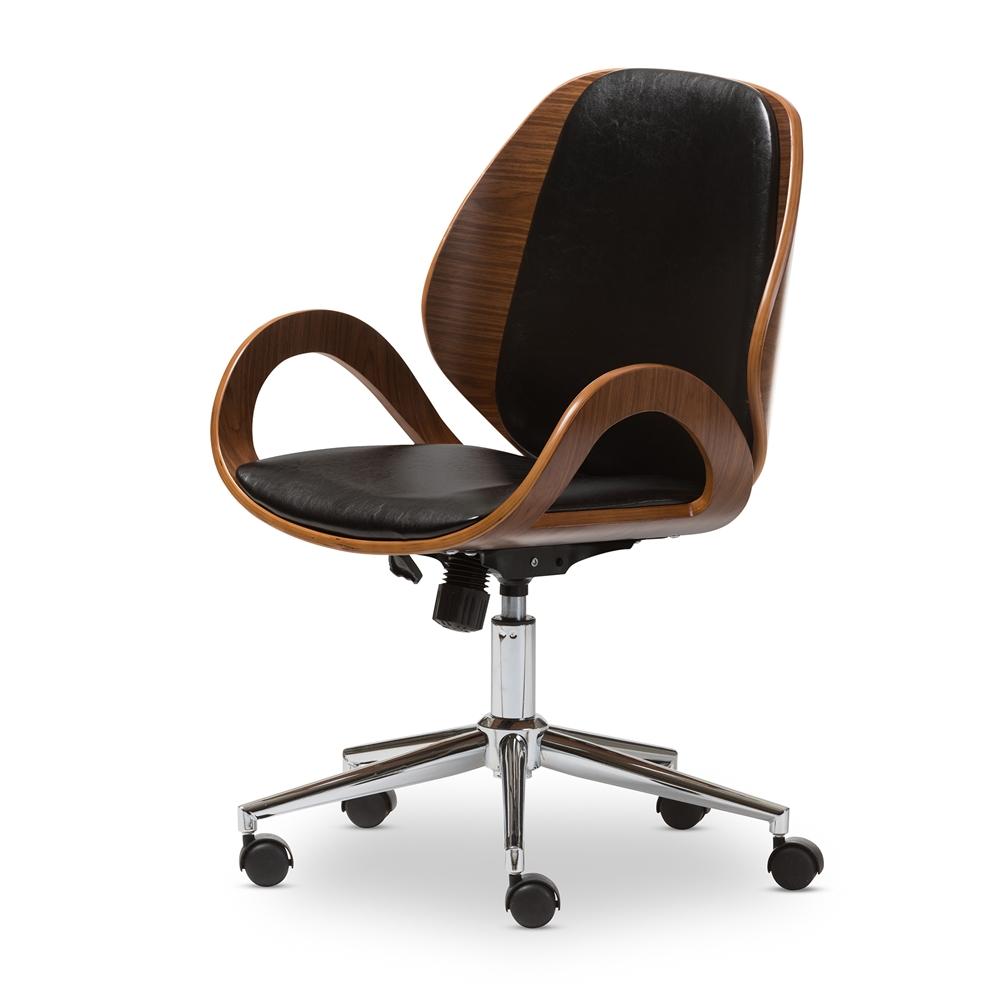 Baxton Studio Watson Walnut and Black Modern Office Chair