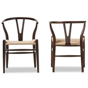 Baxton Studio Wishbone Chair - Dark Brown Wood Y Chair (Set of 2)