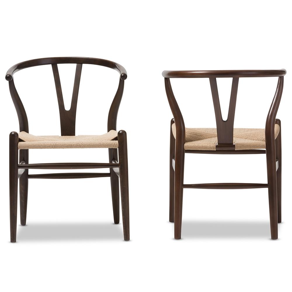 Baxton Studio Wishbone Chair - Dark Brown Wood Y Chair (Set of 2)