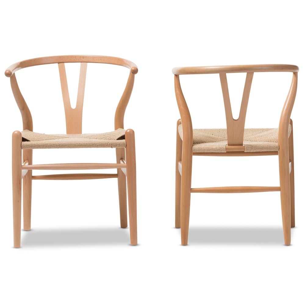Baxton Studio Wishbone Chair - Natural Wood Y Chair (Set of 2)