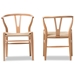 Baxton Studio Wishbone Chair - Natural Wood Y Chair (Set of 2)