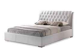 Bianca White Modern Bed with Tufted Headboard - Queen Size Bianca White Modern Bed with Tufted Headboard - Queen Size, wholesale furniture, restaurant furniture, hotel furniture, commercial furniture