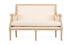 Baxton Studio Chavanon Wood & Light Beige Linen Traditional French Loveseat