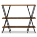 Baxton Studio Norton Rustic and Industrial Walnut Brown Finished Wood and Black Finished Metal Console Table - YLX-0906-020-Console