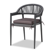 Baxton Studio Wendell Modern and Contemporary Grey Finished Rope and Metal Outdoor Dining Chair Baxton Studio restaurant furniture, hotel furniture, commercial furniture, wholesale outdoor furniture, wholesale outdoor, classic outdoor