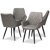 Baxton Studio Astrid Mid-Century Contemporary Grey Faux Leather Upholstered and Black Metal 4-Piece Dining Chair Set Baxton Studio restaurant furniture, hotel furniture, commercial furniture, wholesale dining room furniture, wholesale dining chairs, classic dining chairs