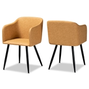 Baxton Studio Eris Mid-Century Contemporary Tan Faux Leather Upholstered and Black Metal 2-Piece Dining Chair Set Baxton Studio restaurant furniture, hotel furniture, commercial furniture, wholesale dining room furniture, wholesale dining chairs, classic dining chairs