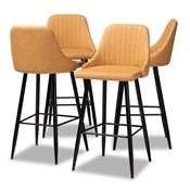 Baxton Studio Walter Mid-Century Contemporary Tan Faux Leather Upholstered and Black Metal 4-Piece Bar Stool Set