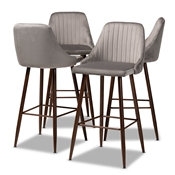 Baxton Studio Walter Mid-Century Contemporary Grey Velvet Fabric Upholstered and Walnut Finished 4-Piece Bar Stool Set