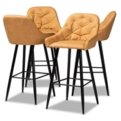 Baxton Studio Catherine Modern and Contemporary Tan Faux Leather Upholstered and Black Metal 4-Piece Bar Stool Set