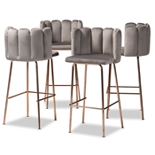 Baxton Studio Kaelin Luxe and Glam Grey Velvet Fabric Upholstered and Rose Gold Finished 4-Piece Bar Stool Set
