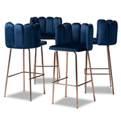 Baxton Studio Kaelin Luxe and Glam Navy Blue Velvet Fabric Upholstered and Rose Gold Finished 4-Piece Bar Stool Set