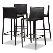 Baxton Studio Malcom Modern and Contemporary Black Faux Leather Upholstered 4-Piece Bar Stool Set