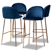 Baxton Studio Addie Luxe and Glam Navy Blue Velvet Fabric Upholstered and Rose Gold Finished 4-Piece Bar Stool Set