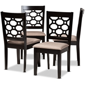 Baxton Studio Peter Modern and Contemporary Sand Fabric Upholstered and Dark Brown Finished Wood 4-Piece Dining Chair Set Baxton Studio restaurant furniture, hotel furniture, commercial furniture, wholesale dining room furniture, wholesale dining chairs, classic dining chairs