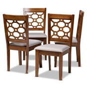 Baxton Studio Peter Modern and Contemporary Grey Fabric Upholstered and Walnut Brown Finished Wood 4-Piece Dining Chair Set Baxton Studio restaurant furniture, hotel furniture, commercial furniture, wholesale dining room furniture, wholesale dining chairs, classic dining chairs
