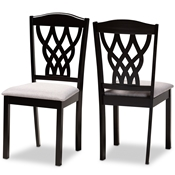 Baxton Studio Delilah Modern and Contemporary Grey Fabric Upholstered and Dark Brown Finished Wood 2-Piece Dining Chair Set Baxton Studio restaurant furniture, hotel furniture, commercial furniture, wholesale dining room furniture, wholesale dining chairs, classic dining chairs