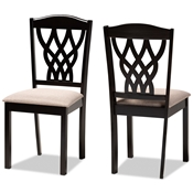 Baxton Studio Delilah Modern and Contemporary Sand Fabric Upholstered and Dark Brown Finished Wood 2-Piece Dining Chair Set Baxton Studio restaurant furniture, hotel furniture, commercial furniture, wholesale dining room furniture, wholesale dining chairs, classic dining chairs