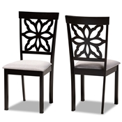 Baxton Studio Samwell Modern and Contemporary Grey Fabric Upholstered and Dark Brown Finished Wood 2-Piece Dining Chair Set Baxton Studio restaurant furniture, hotel furniture, commercial furniture, wholesale dining room furniture, wholesale dining chairs, classic dining chairs
