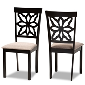 Baxton Studio Samwell Modern and Contemporary Sand Fabric Upholstered and Dark Brown Finished Wood 2-Piece Dining Chair Set Baxton Studio restaurant furniture, hotel furniture, commercial furniture, wholesale dining room furniture, wholesale dining chairs, classic dining chairs