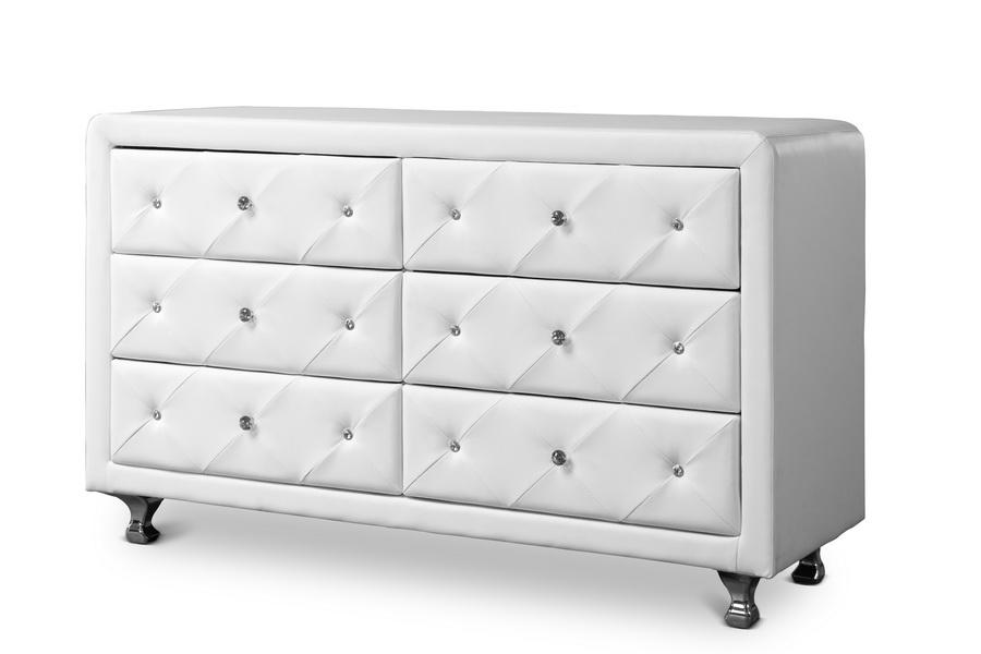 Baxton Studio Luminescence Wood Contemporary White Upholstered Dresser