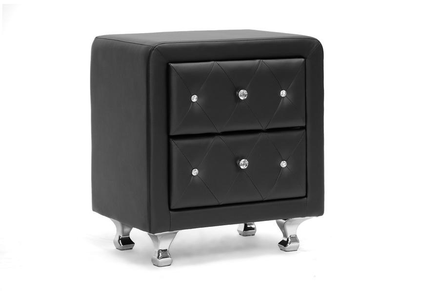 Baxton Studio Stella Crystal Tufted Black Upholstered Modern Nightstand