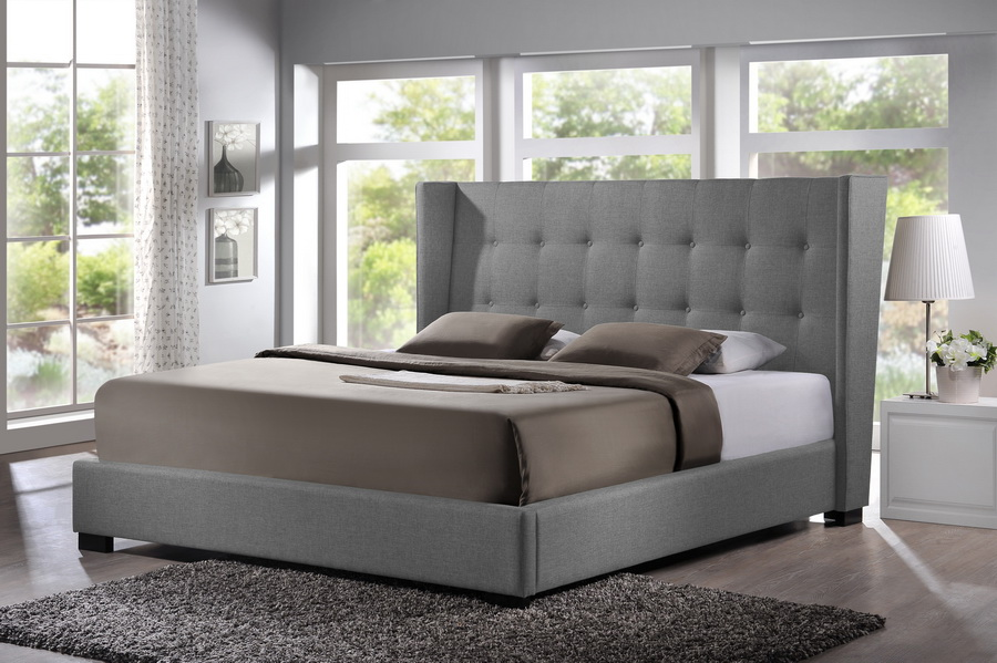 Baxton Studio Favela Gray Linen Modern Bed With Upholstered Headboard King Size Wholesale Interiors