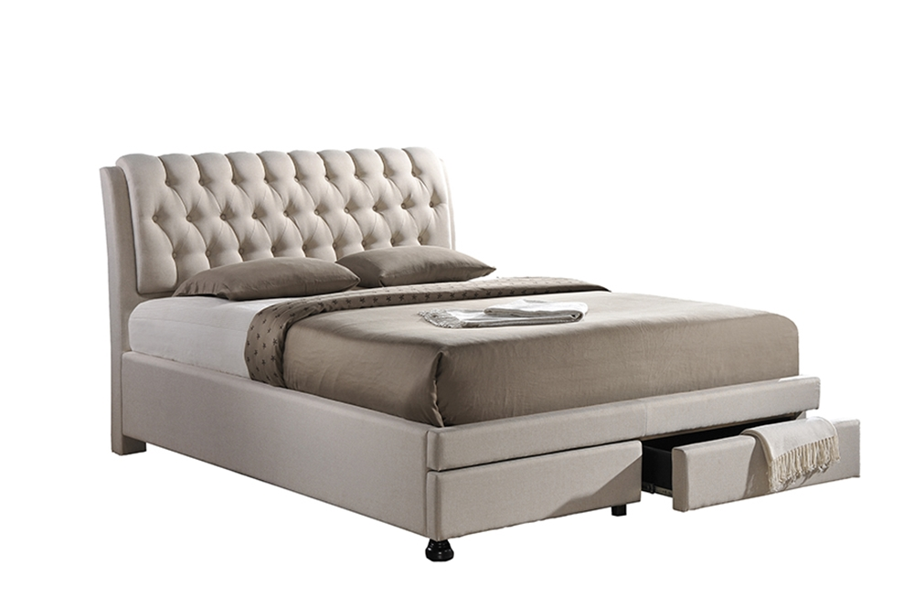 Baxton Studio Ainge Contemporary Button-Tufted Light Beige Fabric Upholstered Storage King-Size Bed with 2-drawer One (1) King Size Bed