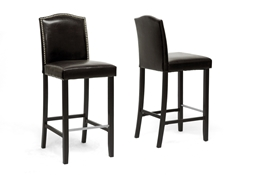 Baxton Studio Libra Dark Brown Modern Bar Stool with Nail Head Trim (Set of 2)