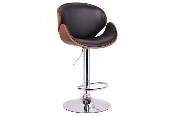 Baxton Studio Crocus Walnut and Black Modern Bar Stool