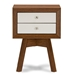 Baxton Studio  Warwick Two-tone Walnut and White Modern Accent Table and Nightstand