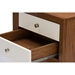 Baxton Studio  Warwick Two-tone Walnut and White Modern Accent Table and Nightstand - ST-005-AT Walnut/White